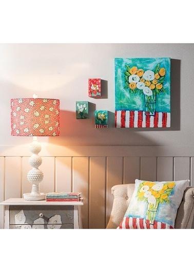 Warm Design Tuval Mini Çiçek Duvar Panoları Renkli